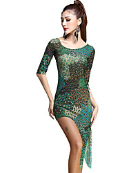 Latin Dance Dresses Women's Training Rayon / Tulle Pattern/Print 3 Pieces Green Latin Dance Half Sleeve Natural