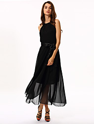 Women's Sexy Irregular Solid Color Sleeveless Chiffon Long Maxi Dress