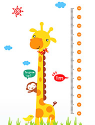 60-180Cm Cartoon Giraffe Monkey Height Stickers Kindergarten Kids Children's Bedroom Wall Stickers PVC Wall Decals
