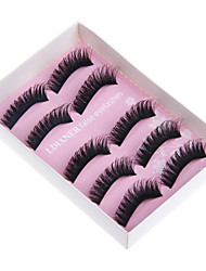 5 Eyelashes lash Half Strip Lashes Eyelash The End Is Longer Lifted lashes Volumized Handmade Fiber Black Band 0.25mm 9mm