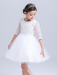 A-line Knee-length Flower Girl Dress-Cotton / Lace / Organza / Tulle Half Sleeve