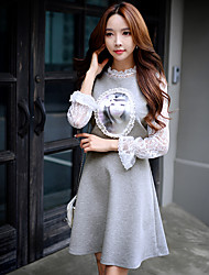 Women's Going out / Casual/ Vintage Two Piece Dress,Solid / Patchwork Crew Neck Knee-length Long Sleeve