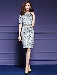 Women's Plus Size / Going out Street chic Sheath Dress,Floral Round Neck Above Knee ½ Length Sleeve Gray Polyester Fall