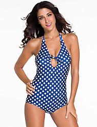 Women's Navy Blue Vintage Halter Monokini White Polka Swimsuit
