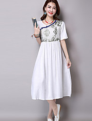Women's Going out Vintage A Line Dress,Print Round Neck Midi Short Sleeve White / Green Polyester Summer