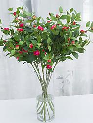 1 1 Ramo Poliéster / Couro Ecológico Camélia Flor de Chão Flores artificiais 36.22inch/92cm