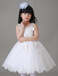 A-line Knee-length Flower Girl Dress - Tulle Sleeveless Jewel with Flower(s) / Lace