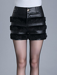 De las mujeres Pantalones Cortos-Sexy / Simple / Bonito Microelástico-Poliuretano / Tipos Especiales de Pelo