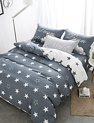 Gray brief  style 4piece bedding sets print duvet cover Sets 100% Cotton Bedding Set Queen Size
