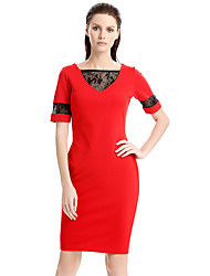 Women's Plus Size / Casual/Daily / Work Street chic Bodycon Dress,Color Block V Neck Knee-length Short Sleeve