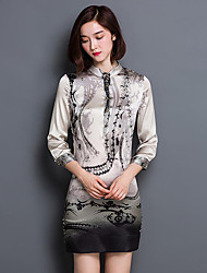 Women's Going out Vintage Sheath Dress,Print Stand Mini ¾ Sleeve Gray Silk Fall