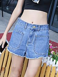 Damen Hose - Einfach Kurze Hose / Jeans Baumwolle Unelastisch