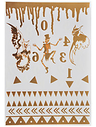 1pc Gold Noctilucent Temporary Metallic Tattoo Flash Skeleton Eagle Halloween Party Night Club YG-01