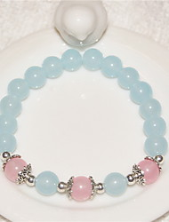 Pink Natural Crystal Strand Beads Bracelet