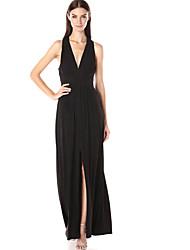 Moulante Robe Aux femmes Soirée Sexy,Couleur Pleine Col en V Maxi Sans Manches Noir Polyester Eté