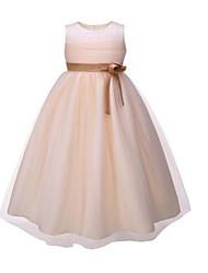 2017 robe de bal genou fille fleur robe - organza manches bijou avec des perles / fleur (s) / châssis / ruban