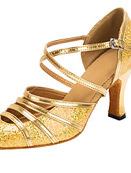 Customizable Women's Dance Shoes Paillette Latin / Modern Sandals Customized Heel Professional / Indoor Gold