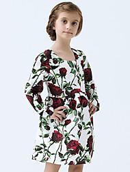 Girl's Cotton Spring/Autumn Print Flower Dress Long Sleeve Princess Dress
