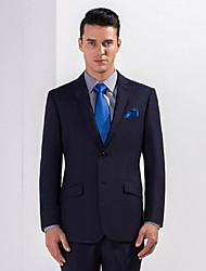 Suits Standard Fit Notch Single Breasted Two-buttons Polyester Solid 2 Pieces Navy Blue Slanted Flapped
