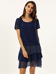 Women's Round Neck Dress , Chiffon Above Knee Short Sleeve