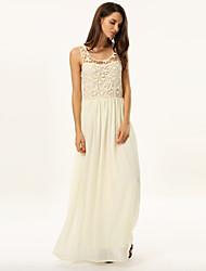 Women's Party/Cocktail Dress,Print Maxi Sleeveless Beige Summer
