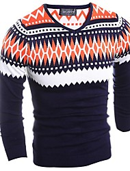 Men's Print Casual Pullover,Wool Long Sleeve Orange / Red / Yellow