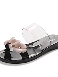 Feminino-Chinelos e flip-flopsRasteiro-Preto Rosa-PVC-Casual