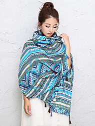 Women Cotton Vintage Casual Aqua Blue Tassel National Wind Printing Large Shawl Travel Pictures Fashion Warm Scarves