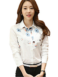 Women's Plus Size / Casual/Daily Simple Floral / Embroidered Shirt Collar Long Sleeve White Cotton Shirt