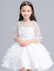 A-line Knee-length Flower Girl Dress - Cotton / Satin / Tulle Half Sleeve Jewel with Embroidery / Sash / Ribbon