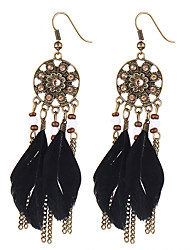 2016 New Fashion Bohemia Vintage Long Drop Earrings Charm Black Feather Beads Dangle Earrings For Women