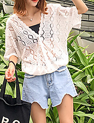 Women's Casual/Daily Simple Summer Blouse,Solid V Neck ½ Length Sleeve Blue / White Cotton Sheer