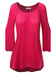 Damen Solide Einfach Lässig/Alltäglich T-shirt,Rundhalsausschnitt Herbst ¾-Arm Rot / Grün / Orange Baumwolle Mittel