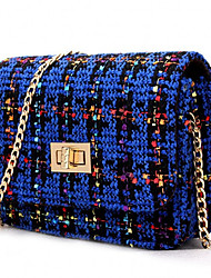 Women Casual Shopping Plaid Twist Lock Woolen Shoulder Evening Bag