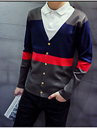 Men's Color Block Casual Cardigan,Cotton Long Sleeve Blue / Red