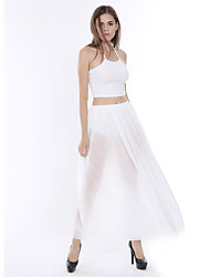 Women's Popular Party/Cocktail Sexy / Street chic Summer Tank Top Skirt Set,Solid Halter Sleeveless White