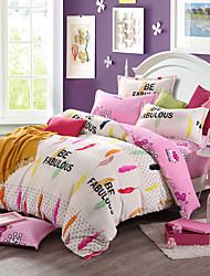 Pink Print Bedlinen Fleece winter bedding set queen king size soft bedsheet pillowcase Duvet cover 4pcs bed set