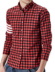 Men's Plaid Casual / Work / Formal / Sport / Plus Size Shirt,Cotton Long Sleeve Red / Gray