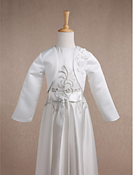 Kids' Wraps Shrugs Long Sleeve Satin Ivory Wedding Party/Evening Casual Scoop 34cm Flower(s) Open Front