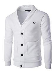 Herren Strickjacke-Einfarbig Freizeit Baumwolle Lang Schwarz / Weiß