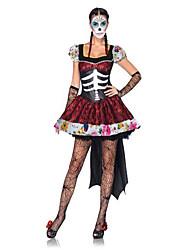 Costumes de Cosplay / Costume de Soirée Squelette/Crâne / Esprit / Zombie / Vampire Fête / Célébration Déguisement Halloween Rouge / Noir
