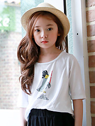 Girl's Casual/Daily Animal Print Tee,Rayon Summer White