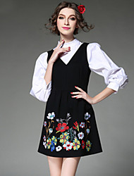 AOFULI Europe Ethnic Embroidery Women Vintage Elegant False Two Piece Long Sleeve Plus SIze Dress