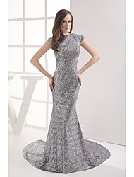 Formal Evening Dress Trumpet / Mermaid Jewel Chapel Train Sequined with Sequins