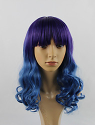 Highlight Purple Blue Ombre Color Fashion Hair Styling Body Wave Long Length Wig