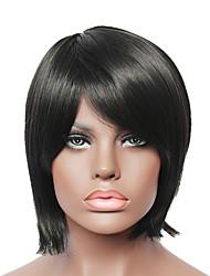 corta de las mujeres reales de cabello humano peluca llena de la manera recta sin tapa negro de la manera de las señoras atractivas
