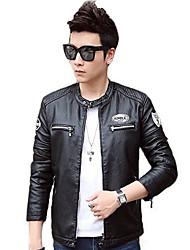 Men's Long Sleeve Casual / Work / Formal / Sport Jacket,PU Solid Black / Blue / Red / Gray