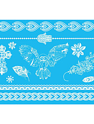 5pcs White Animal Decal Women Henna Butterfly Temporary Waterproof Flower Lace Jewelry Tattoo Sticker