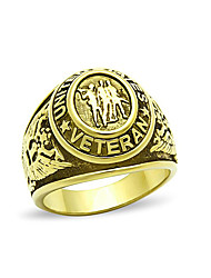 Stainless Steel Men's Ring American Flying Eagle High Polished IP Gold Black epoxy Environmental Lead Free