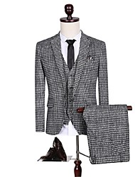 Suits Standard Fit Notch Single Breasted One-button Cotton Checkered / Gingham 3 Pieces Straight Flapped